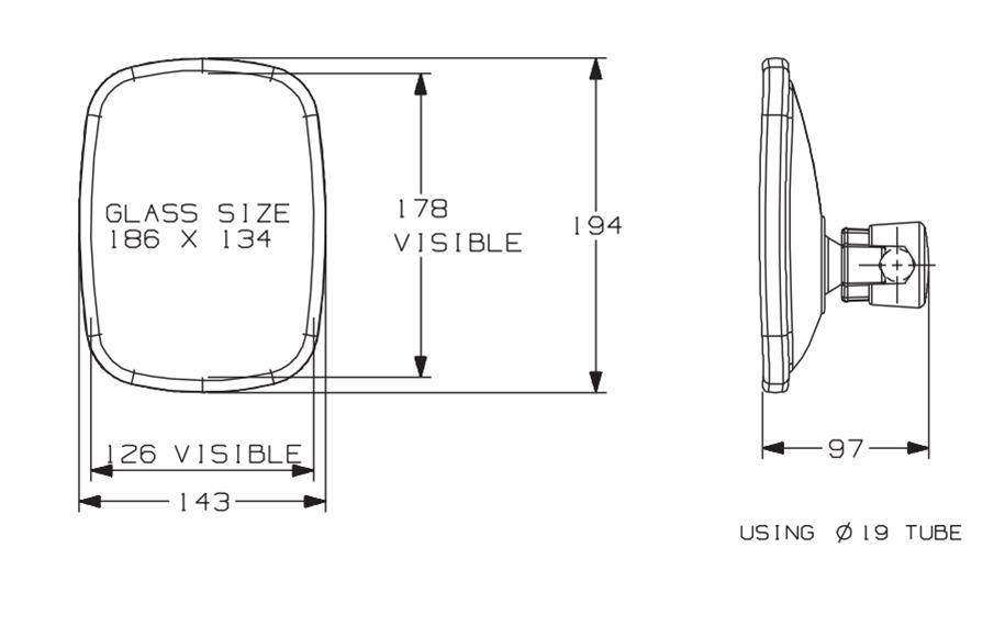 7121.320.A Universal Fit Flat Mirror