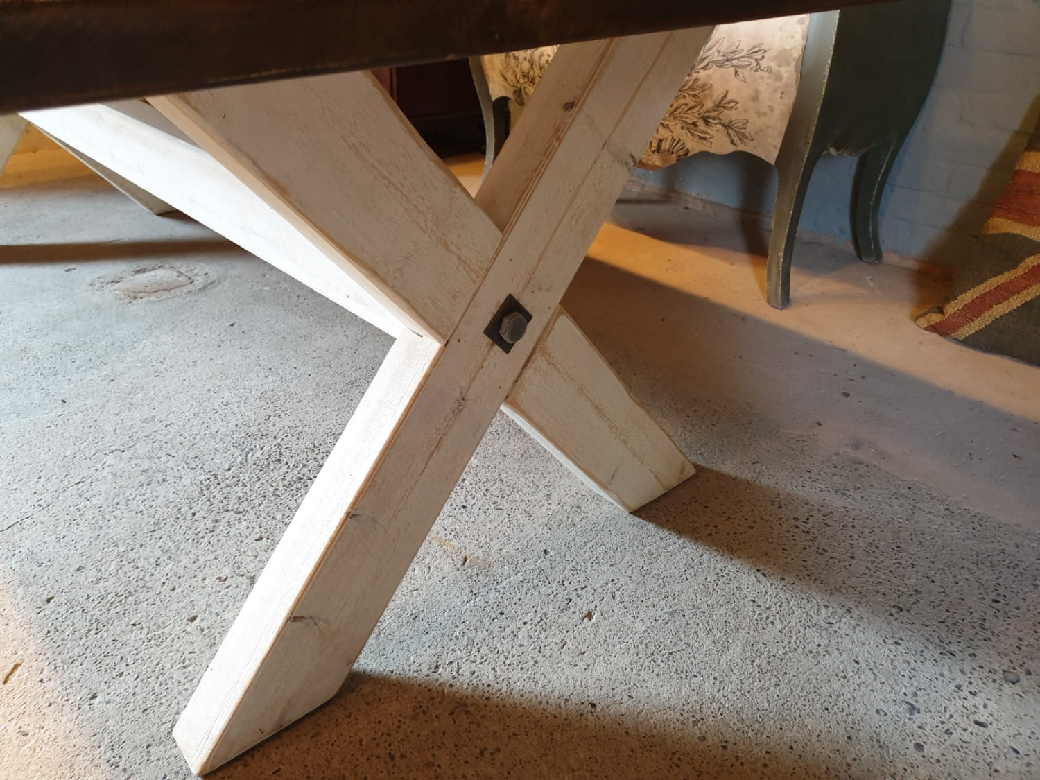 X-Frame with Reclaimed Wood Hand Made Dining Table