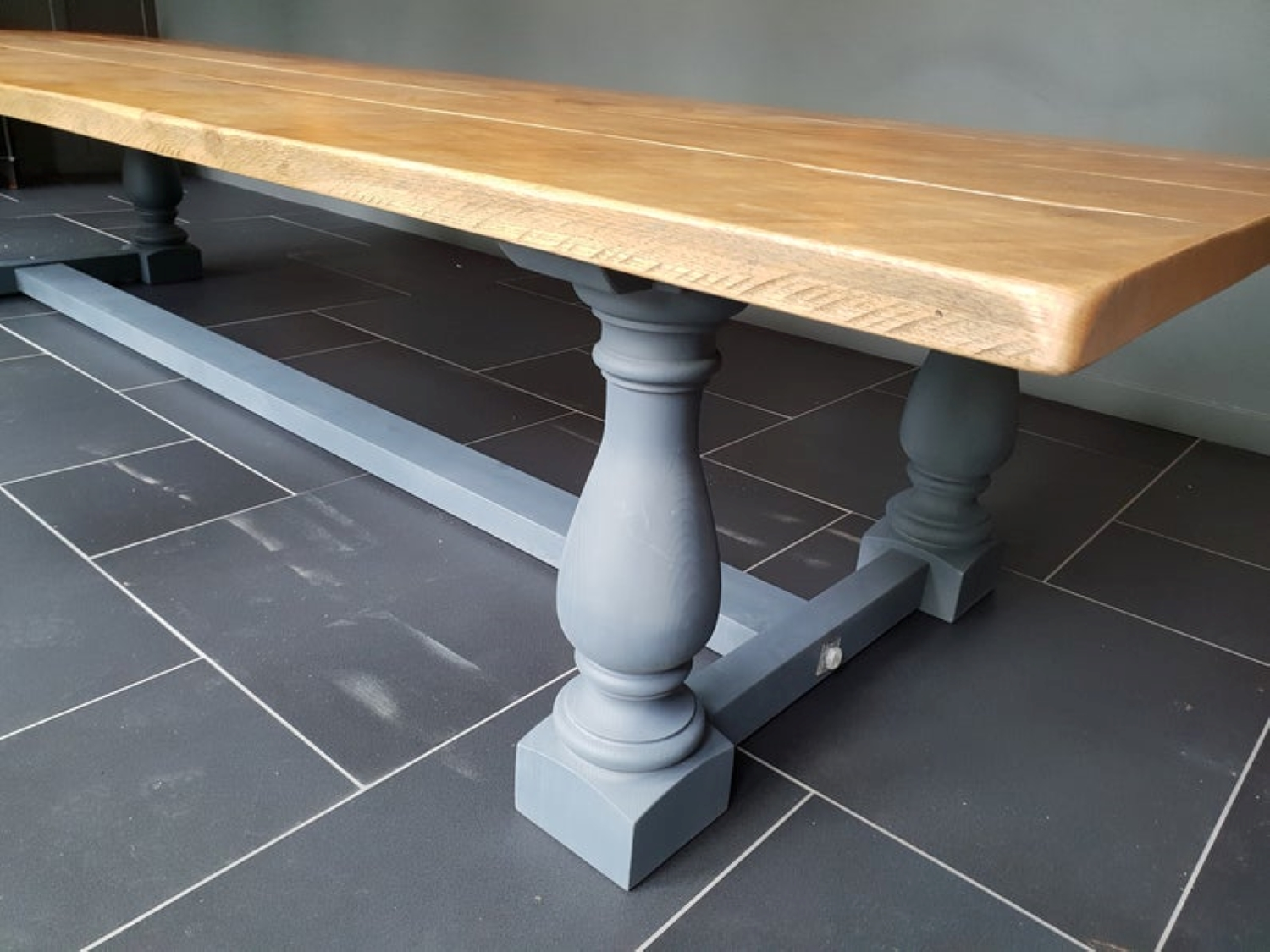 Large Rustic Style Dining Table with Balustrade Legs