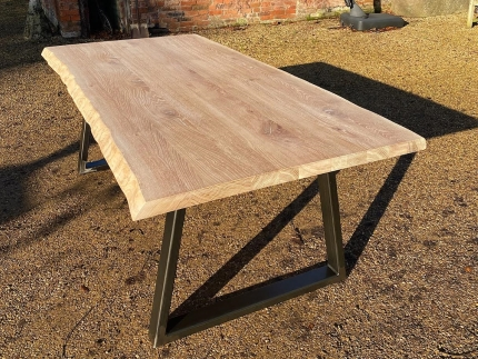 Bleached Solid Oak Waney Edge Dining Table