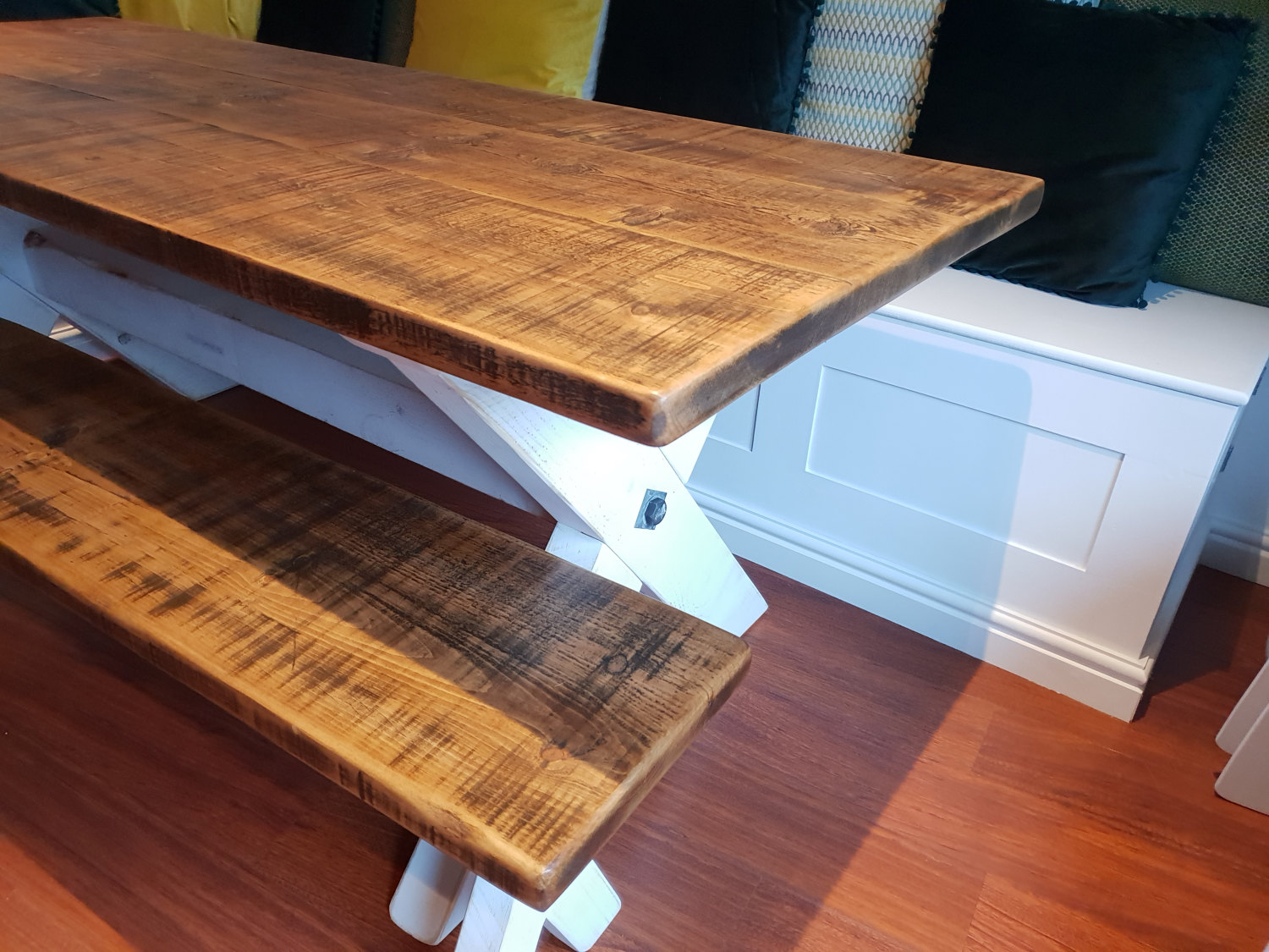 Custom Made X-frame Dining Table and Bench
