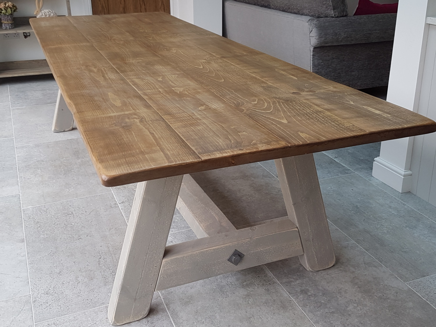 Our Popular A-frame Table with a 'Burbeck Stone' Painted Base