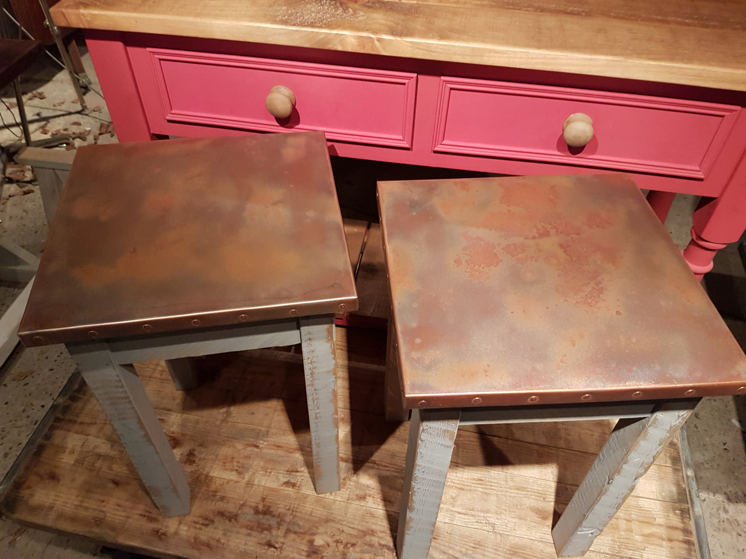 Copper Top Side Table