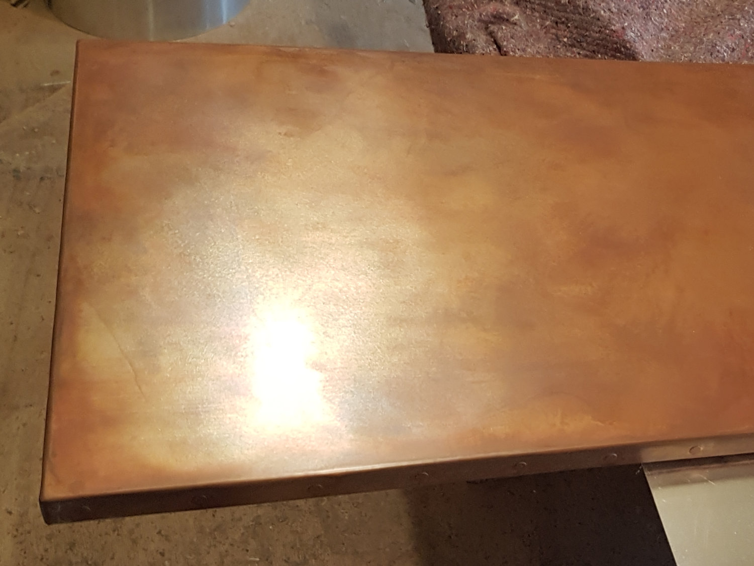 A copper top in our workshop