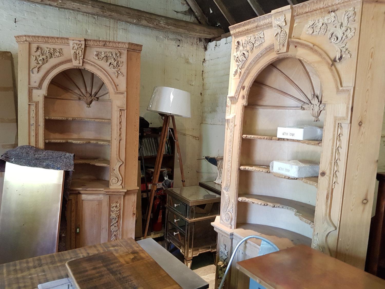 A Pair Of Barrel Back Vintage Pine Corner Cabinets