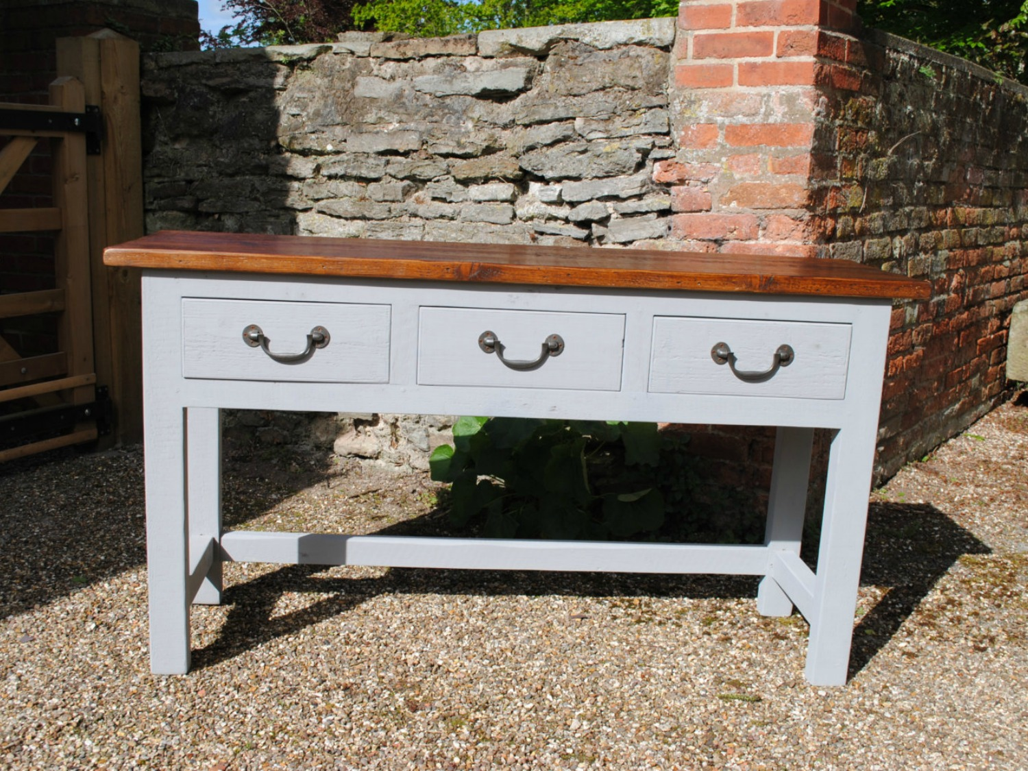 Handmade Serving Sideboard with Rustic Top and Paint Effect base