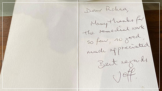 Thank you card - dentist leicester