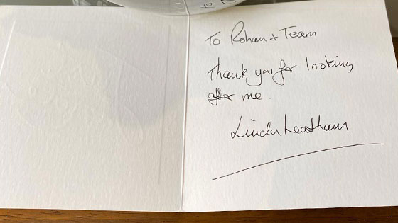 thank you card - leicester dentist
