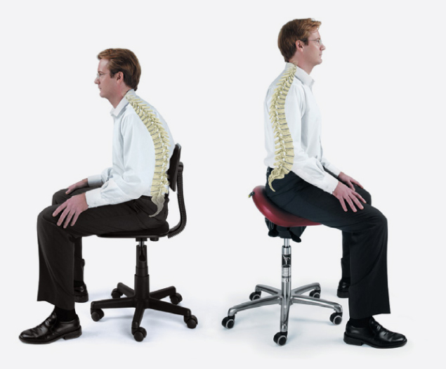 Slouching on a dental seat and sitting correctly on a Bambach