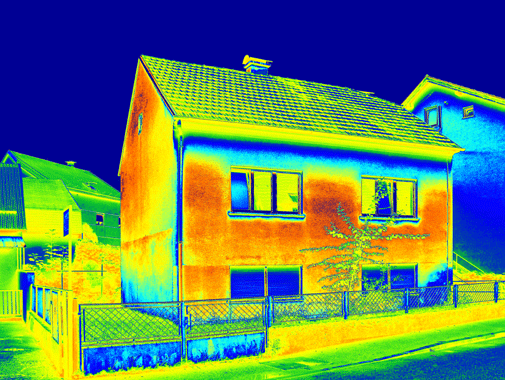 Thermographic image of a house