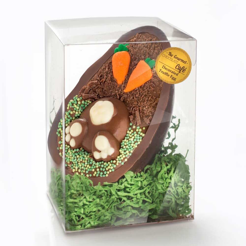 Each filled Half Truffle Egg comes in a clear presentation box.