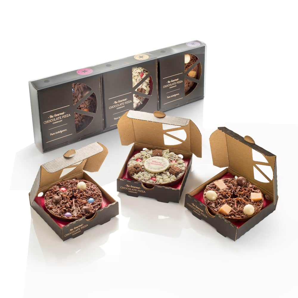 "Mini Pizza Christmas Giftpack includes 3 x 4"" Mini chocolate pizzas."