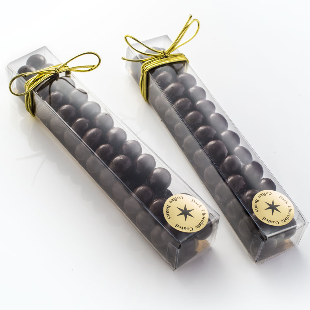 Whole coffee beans coated in smooth dark chocolate