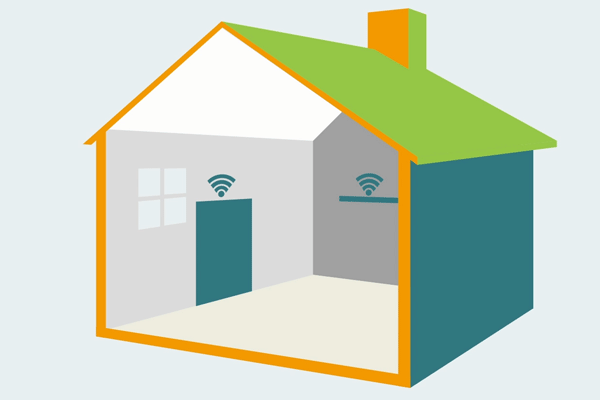 House with temperature sensors