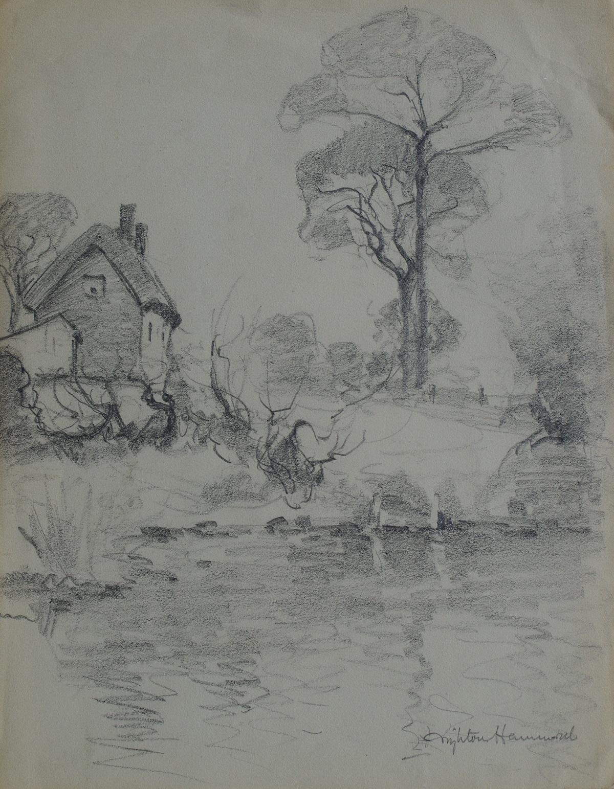 A Cottage by a pond