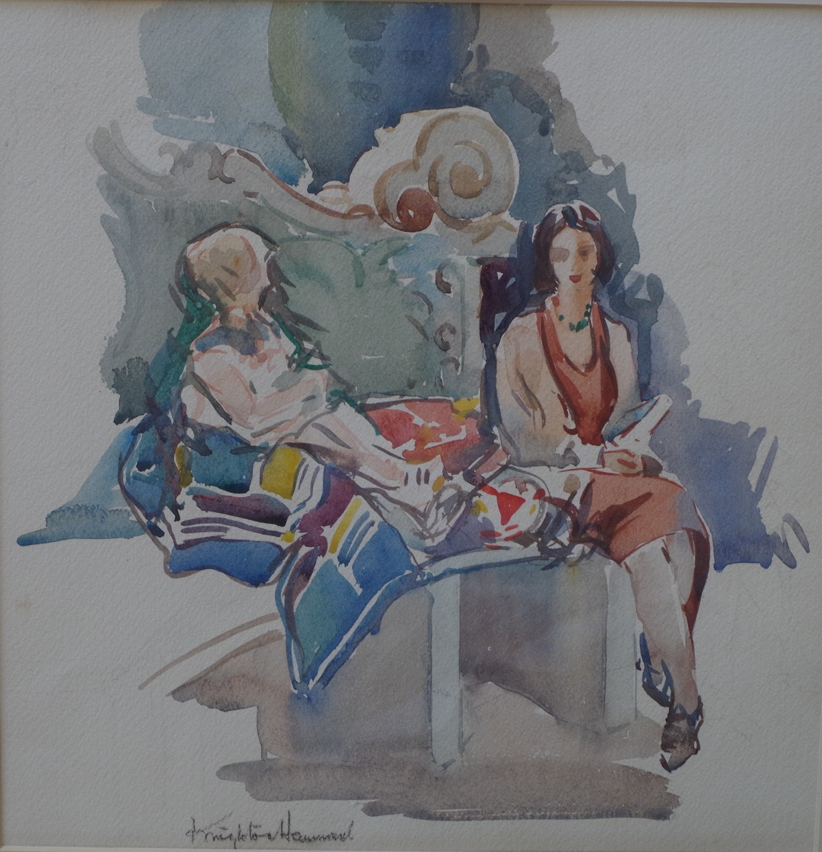 Mary and her mother sitting on a seat