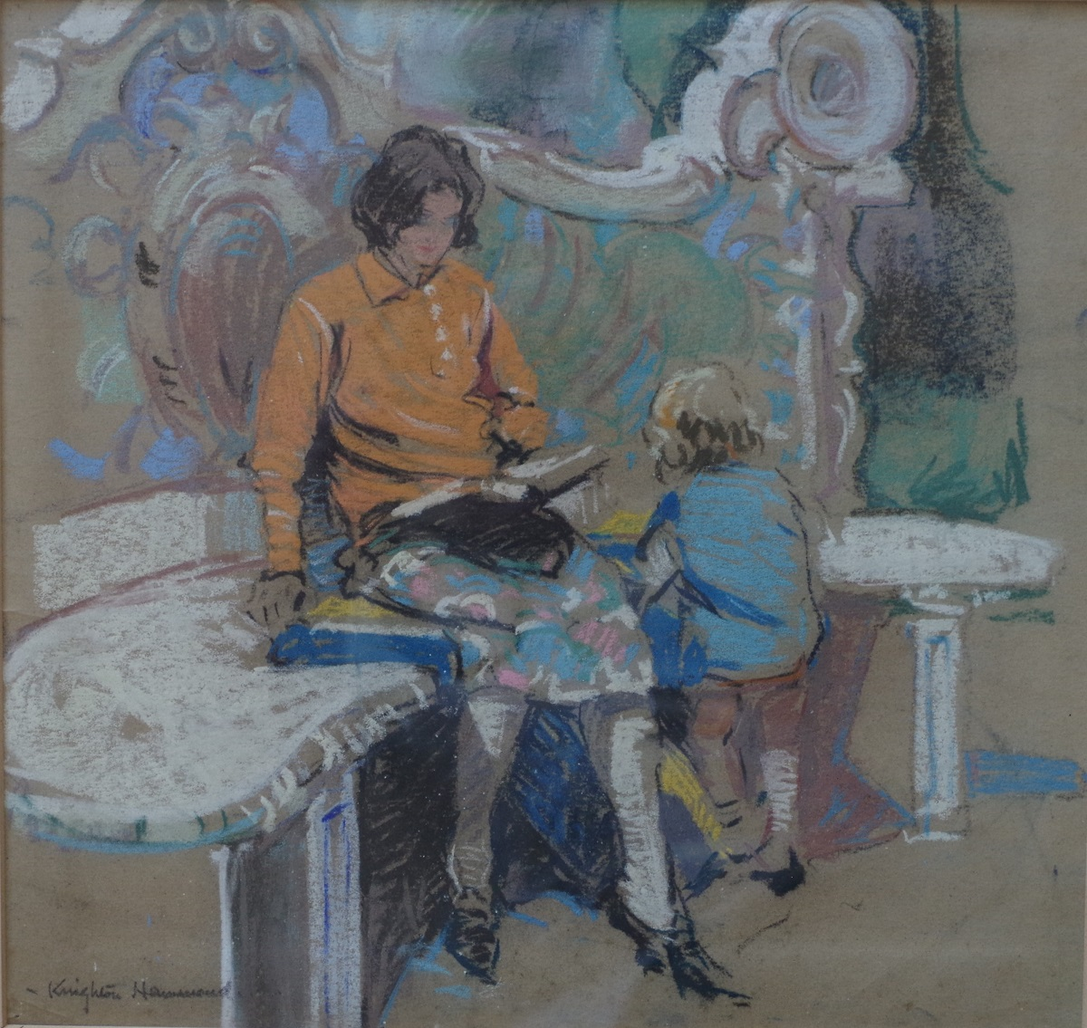 Mary and her mother on a seat
