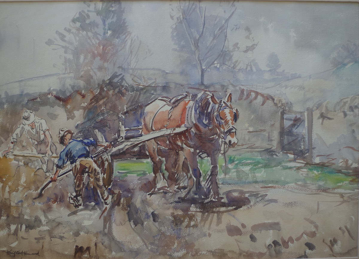 Cart horse and figures