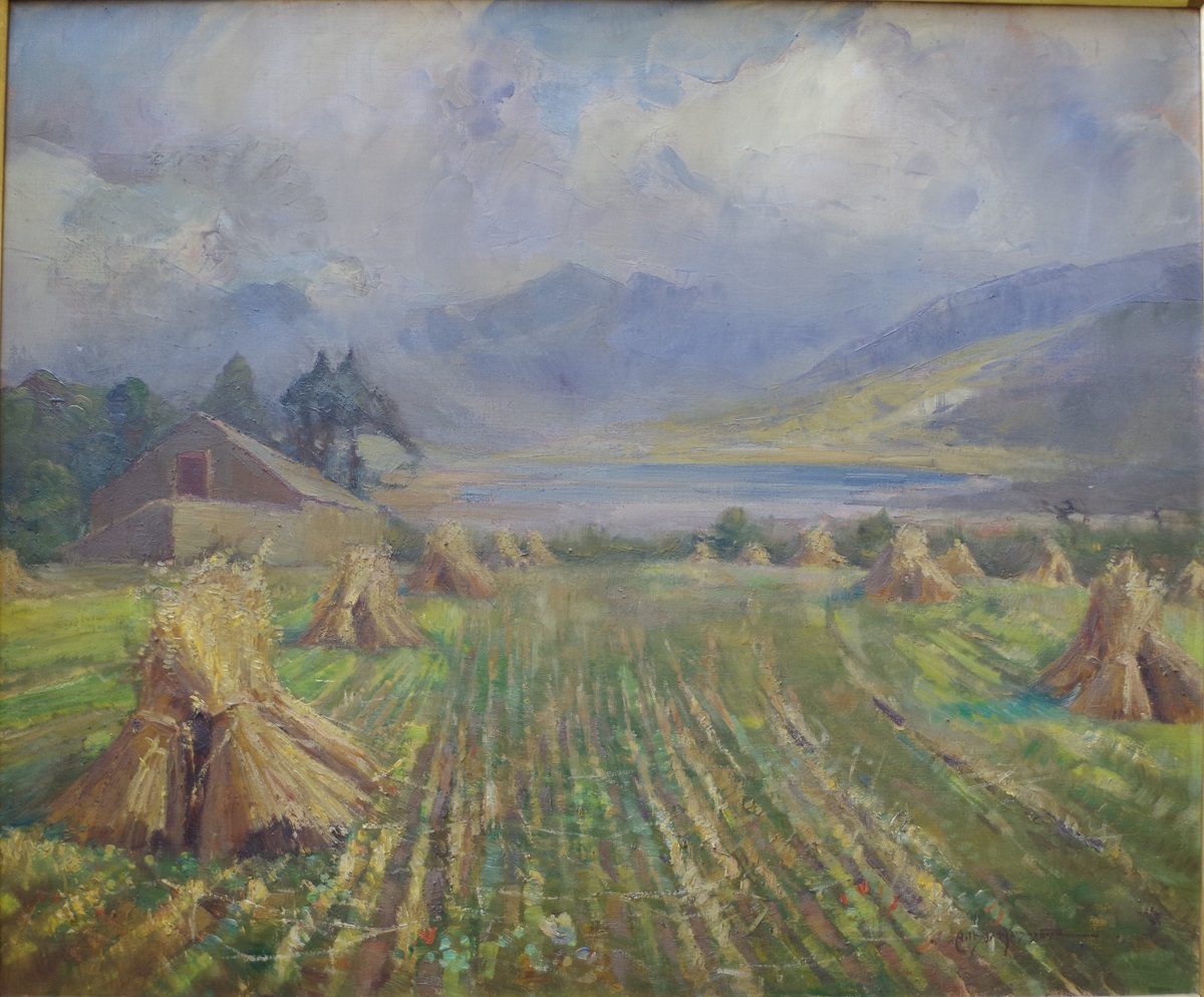Cornstooks in a landscape