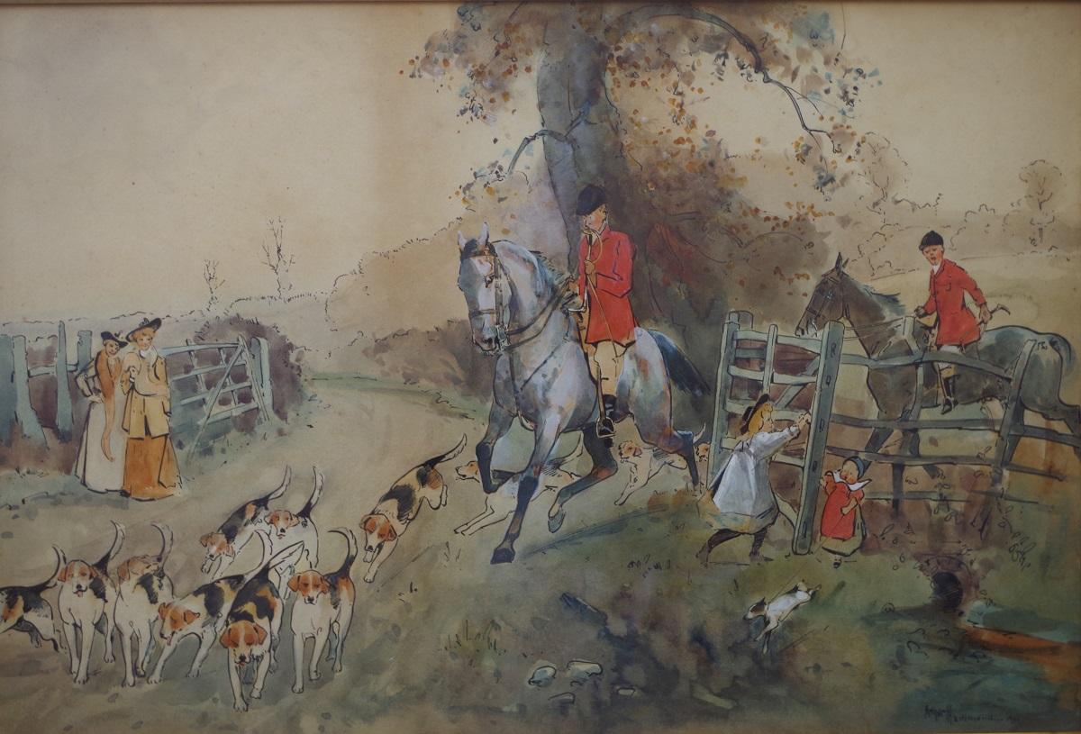 Huntsmen, hounds and bystanders, 1901