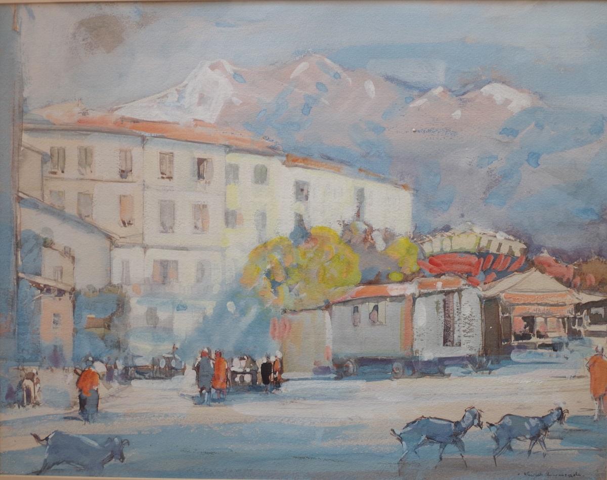Caravan and market, Menton