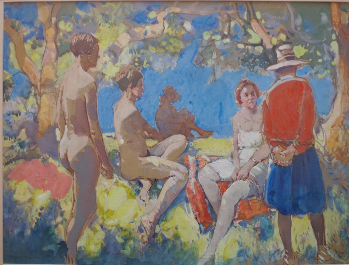 Conversation piece with nudes