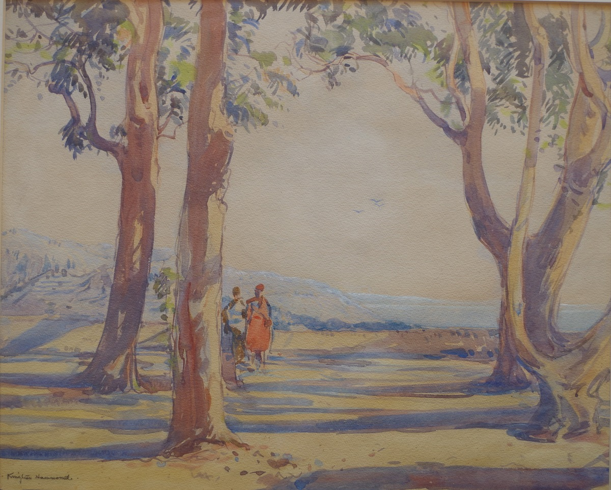Trees and figures overlooking the Mediterranean Sea