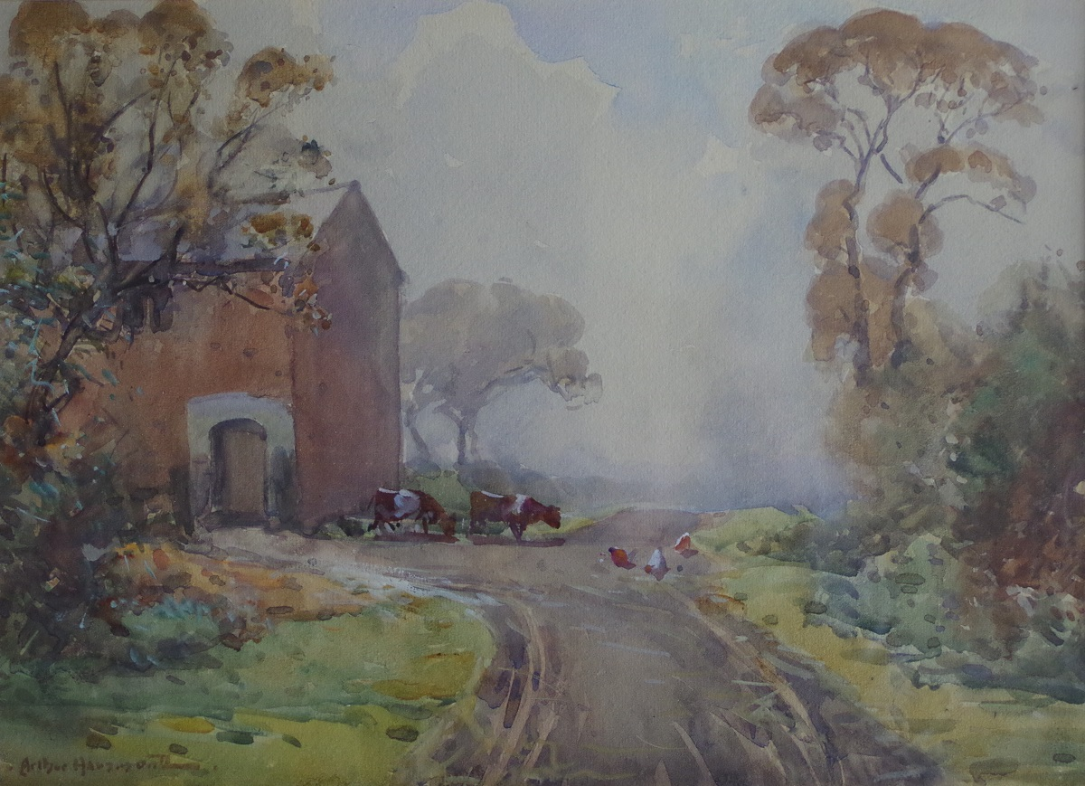Cattle and chickens on a roadway