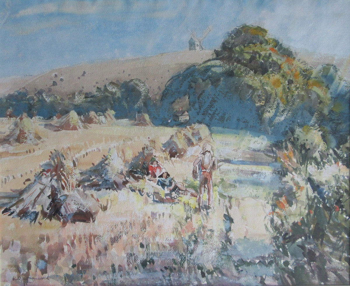 Pasture scene with hay stacks and figures