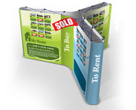 360 degree popup stand for central tradeshow stand.