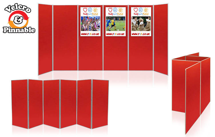 Display stands with large exhibition boards.