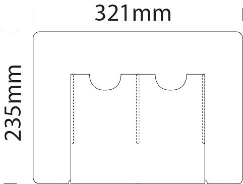 Double 1/3 A4 portrait literature dispenser for A3 portrait cable display
