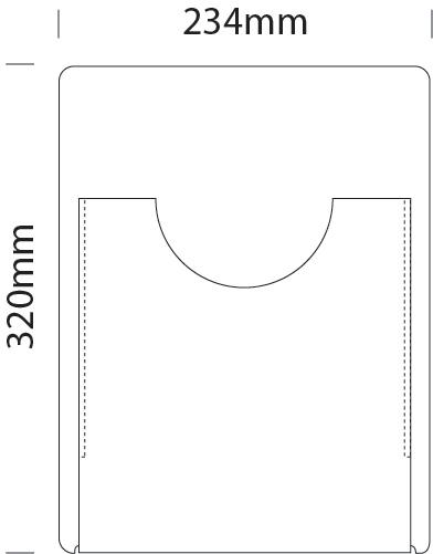 Single A4 portrait literature dispenser pocket for A4 portrait cable displays