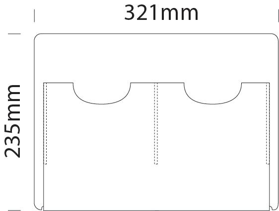 A5 portrait double literature dispenser for A3 portrait cable display