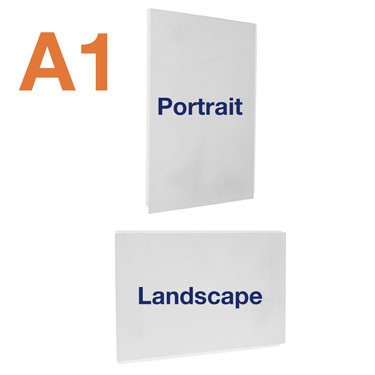 A1 clear acrylic double sided easy access poster pockets for cable and rod displays