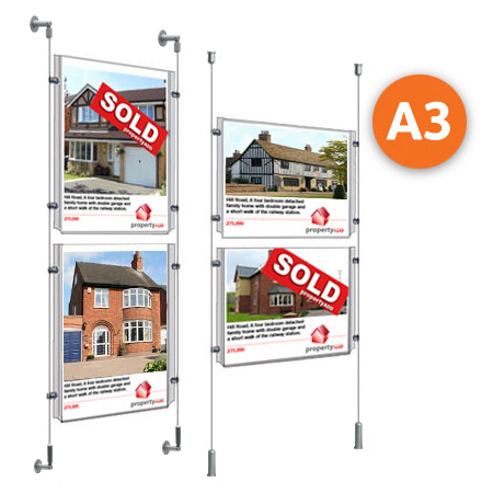 A3 cable display systems - 2x clear acrylic pockets