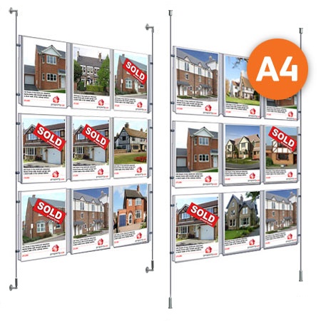 9 x A4 - Choose either wall mountable or floor to ceiling kits