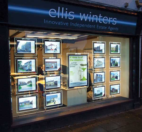 LED light pockets ideal for estate agent windows