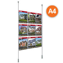 Floor-to-Ceiling Rod Displays - 9 x A4 Posters