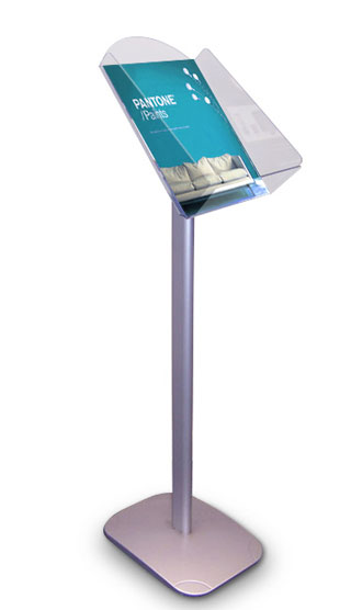 Floor standing A4 single pocket A4 leaflet holders and silent salesmen.
