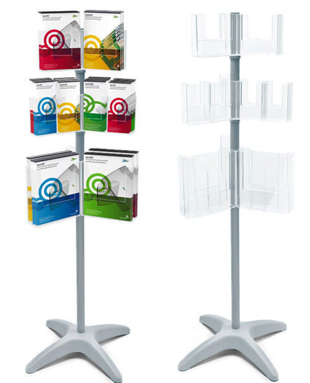 Mix & Match leaflet stand A4, A5 and 1/3 A4 pocket options.