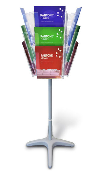 The Orbiter 1 is a stylish revolving leaflet holder with a 12x A4 portrait pocket capacity (4 sided - 3 pockets per side).