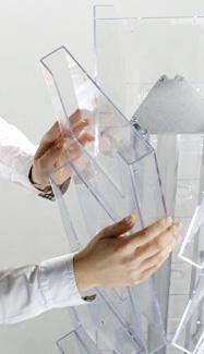 3 sided floor standing leaflet holder with 5x A4 pockets per side (15 pocket in total).