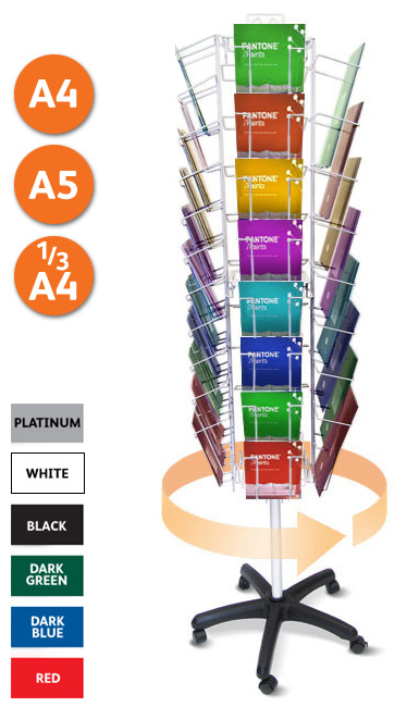 Wire literature carousel stand with A4, A5 or 1/3 A4 pockets.