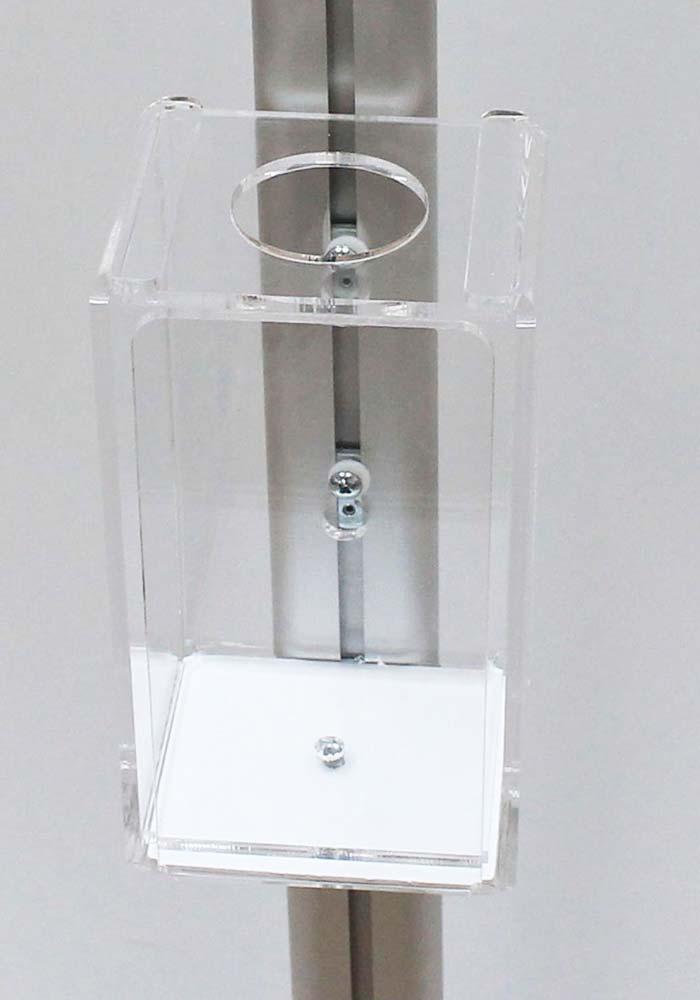 5mm thick acrylic lockable sanitiser holder & dispenser