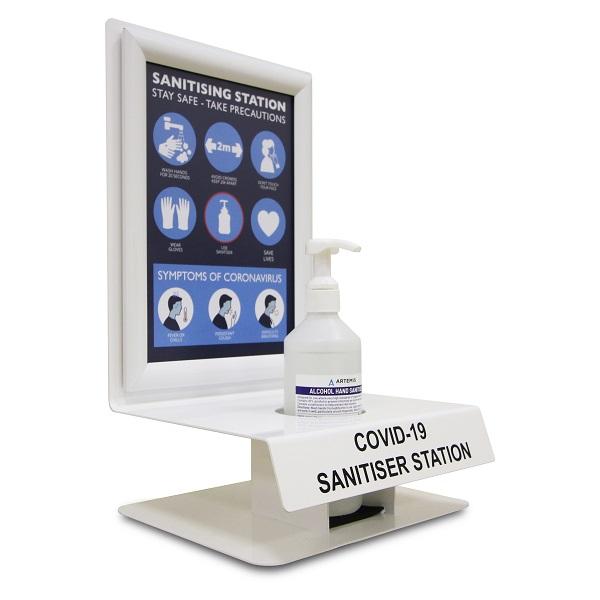 Wall and desk mounted hand sanitiser dispenser