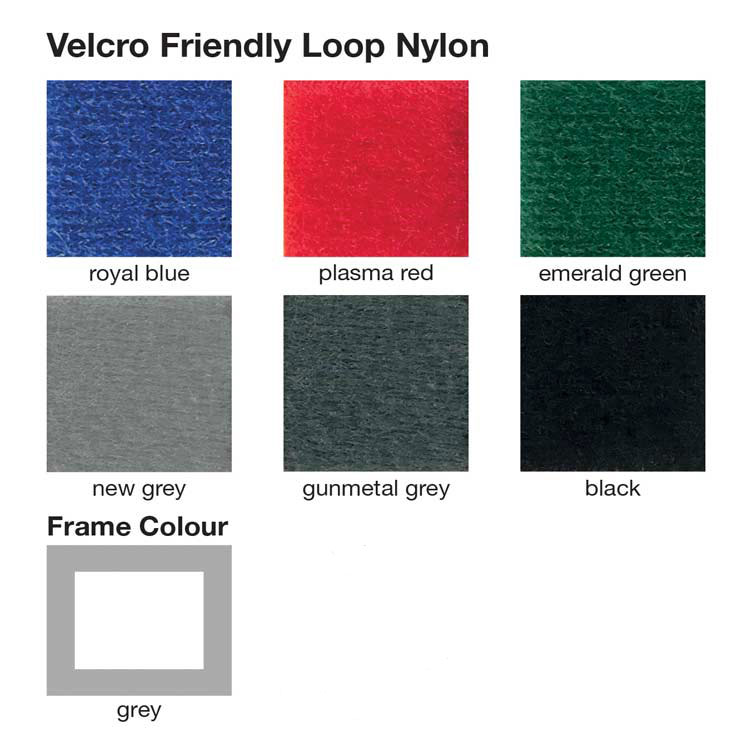 Velcro & pinnable display boards with 6 fabric colours