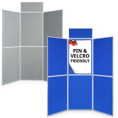 Blue/grey 6 panel folding display boards for next working day delivery
