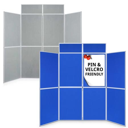 Blue/grey 8 panel folding display boards for next working day delivery