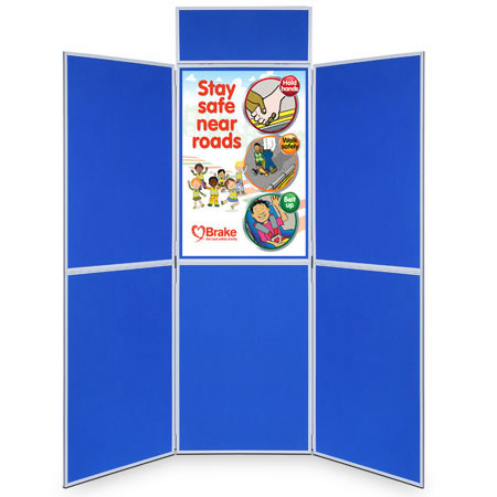 Hire folding 6 panel display stand with 900 x 600mm poster boards.